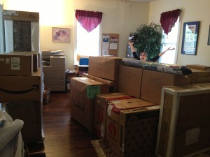 Boxes of items for Madison Cross Roads Dental Clinic